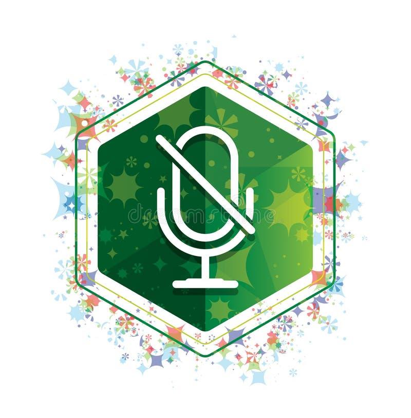 Βουβό μικροφώνων πράσινο hexagon κουμπί σχεδίων εγκαταστάσεων εικονιδίων floral στοκ εικόνες