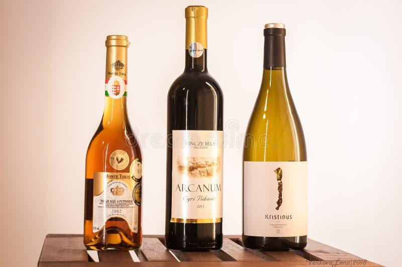 Βουδαπέστη/Ουγγαρία - 01-21-2018: Ουγγρική δοκιμή κρασιού καθορισμένη λίγο γούστο της Ουγγαρίας 3 κρασί στοκ εικόνα