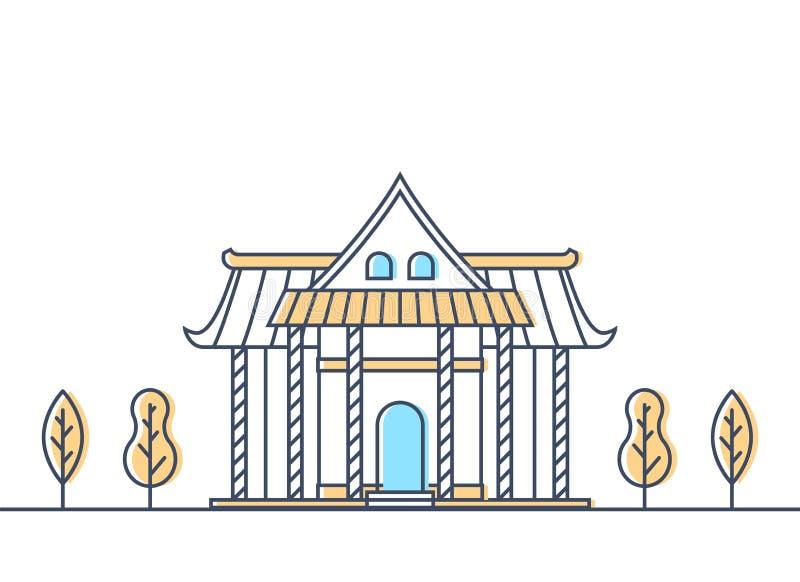 Βουδιστικό εξωτερικό ναών Παραδοσιακό κτήριο ναών θρησκείας βουδισμού θέση λατρείας απεικόνιση αποθεμάτων