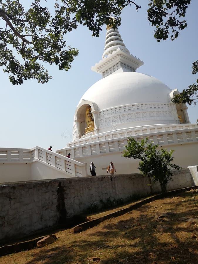Βουδιστικό stupa ναών Rajgir, ψυχική ηρεμία στοκ εικόνα με δικαίωμα ελεύθερης χρήσης