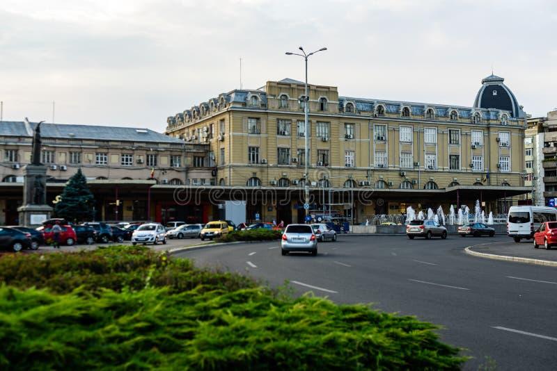 Βουκουρέστι, Ρουμανία - 2019 Η πρόσοψη του βόρειου σιδηροδρομικού σταθμού ή Gara de Nord Bucuresti του Βουκουρεστι'ου στοκ φωτογραφίες με δικαίωμα ελεύθερης χρήσης