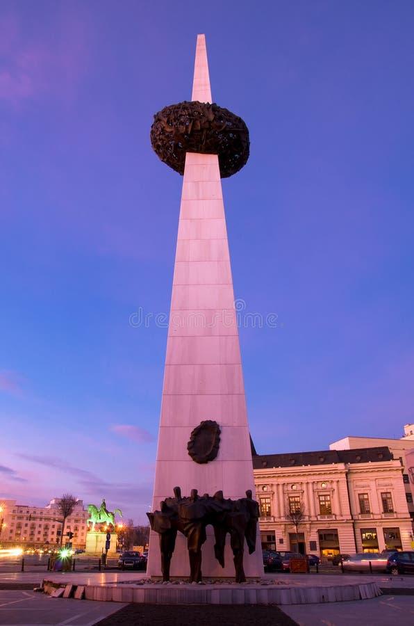 Βουκουρέστι τή νύχτα - τετράγωνο επαναστάσεων στοκ εικόνες