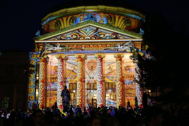 Βουκουρέστι Athenaeum τη νύχτα, φεστιβάλ των φω'των 2018 στοκ εικόνα