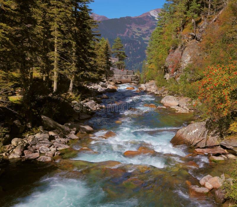 Βουκολικό ποίημα στην αλπική κοιλάδα βουνών στοκ φωτογραφίες με δικαίωμα ελεύθερης χρήσης