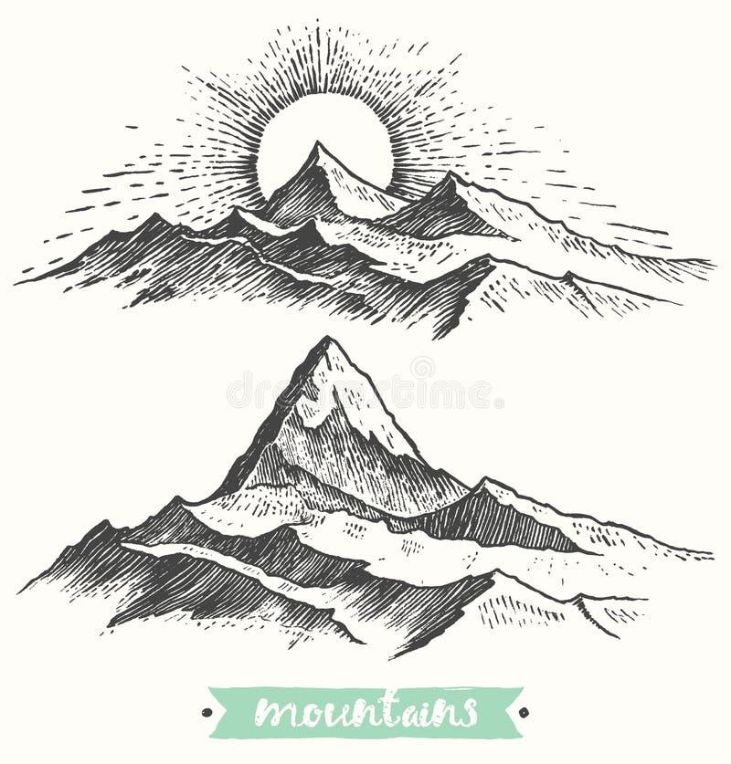 Βουνά ανατολής σκίτσων που χαράσσουν το συρμένο διάνυσμα διανυσματική απεικόνιση