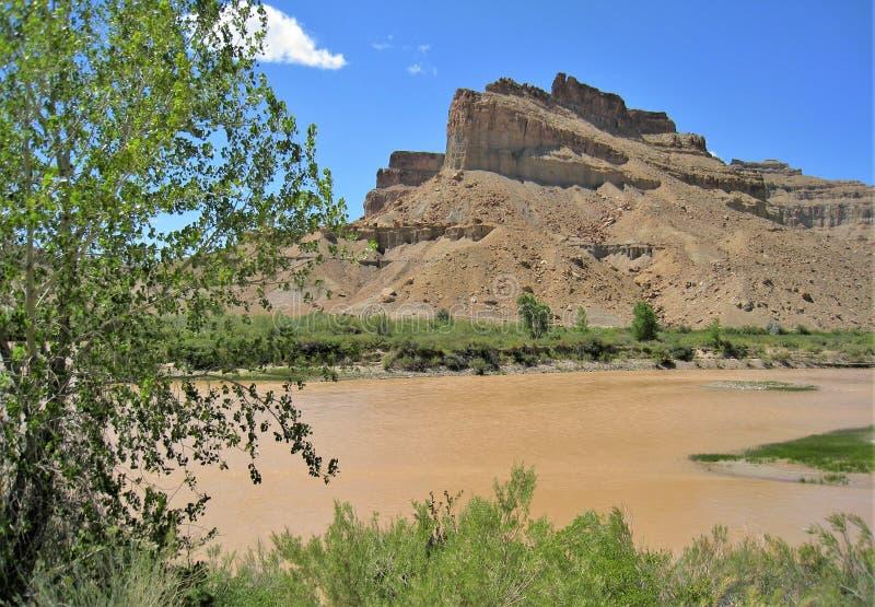 Βουνά γύρω από τον πράσινο ποταμό στοκ εικόνα