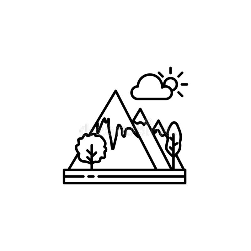 Βουνά, εικονίδιο περιλήψεων σύννεφων Στοιχείο της απεικόνισης τοπίων Το εικονίδιο περιλήψεων σημαδιών και συμβόλων μπορεί να χρησ ελεύθερη απεικόνιση δικαιώματος