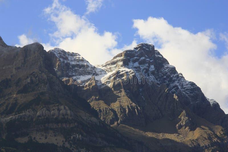 Βουνά και δέντρα στα Πυρηναία, φθινόπωρο, Valle de Tena στοκ εικόνες με δικαίωμα ελεύθερης χρήσης