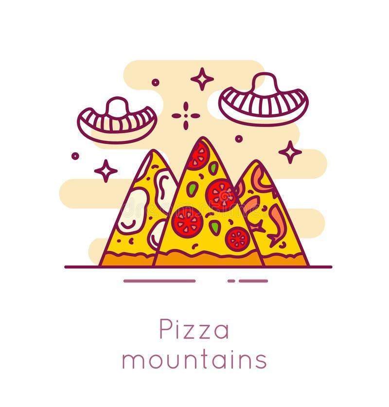 Βουνά και ατομικά μανιτάρια πιτσών στο λεπτό επίπεδο σχέδιο γραμμών Διανυσματικό έμβλημα γρήγορου φαγητού κινούμενων σχεδίων διανυσματική απεικόνιση