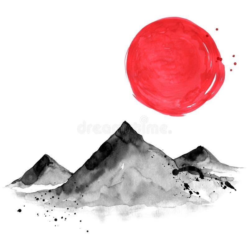 Βουνά στο ιαπωνικό ύφος Απεικόνιση ζωγραφικής χεριών Watercolor διανυσματική απεικόνιση