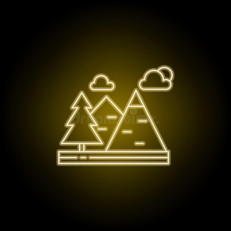 Βουνά, σύννεφα, εικονίδιο γραμμών δέντρων στο κίτρινο ύφος νέου Στοιχείο της απεικόνισης τοπίων Το εικονίδιο γραμμών σημαδιών και διανυσματική απεικόνιση