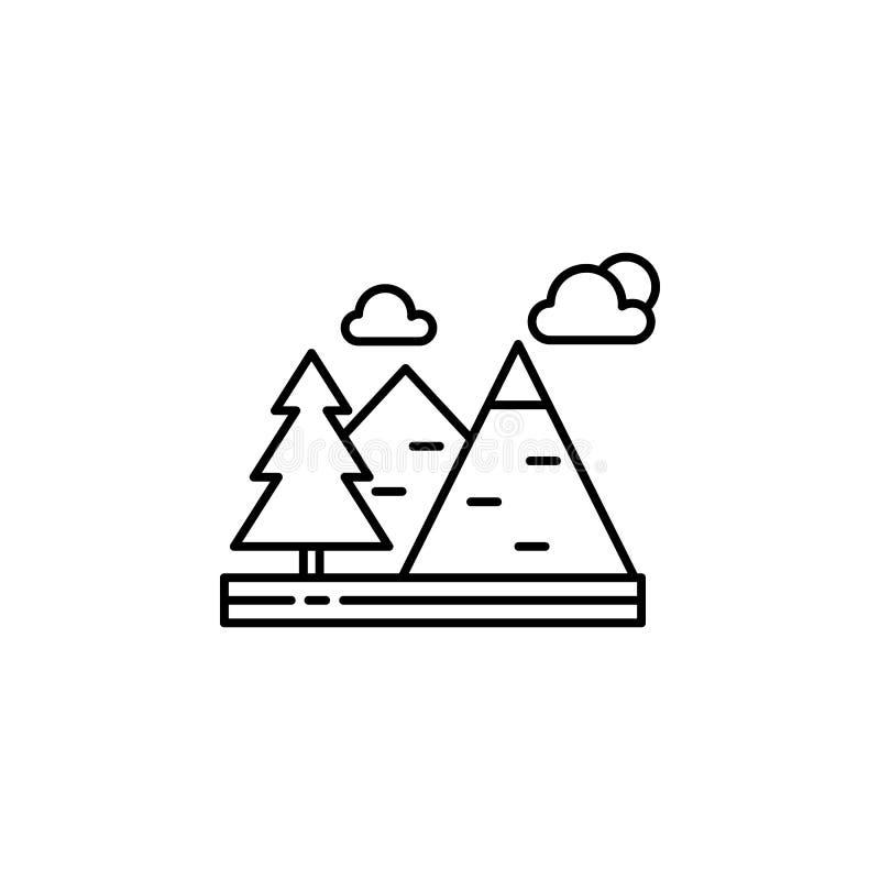 Βουνά, σύννεφα, εικονίδιο περιλήψεων δέντρων Στοιχείο της απεικόνισης τοπίων Το εικονίδιο περιλήψεων σημαδιών και συμβόλων μπορεί ελεύθερη απεικόνιση δικαιώματος