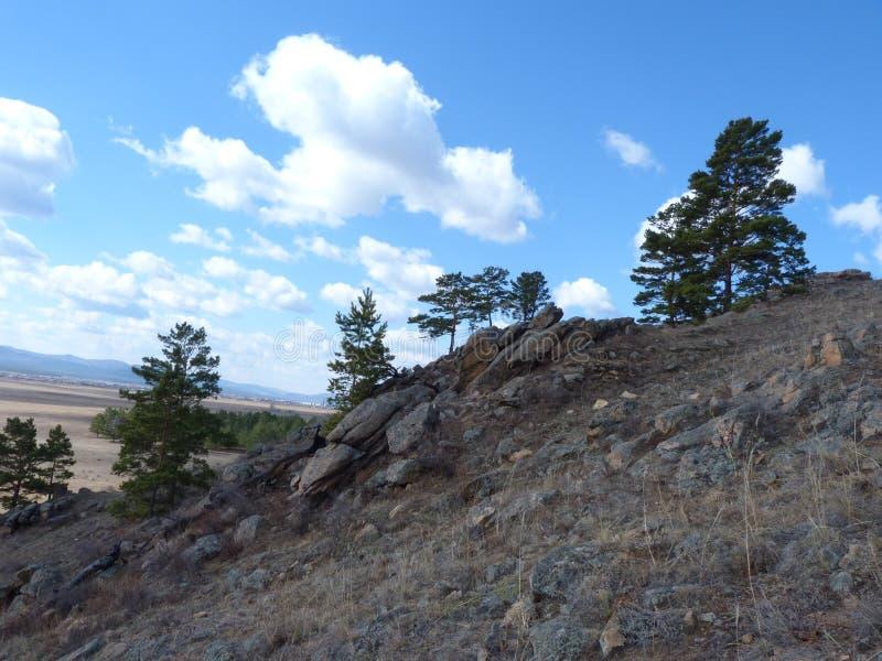 Βουνά, σύννεφα και ξύλο στοκ φωτογραφίες με δικαίωμα ελεύθερης χρήσης