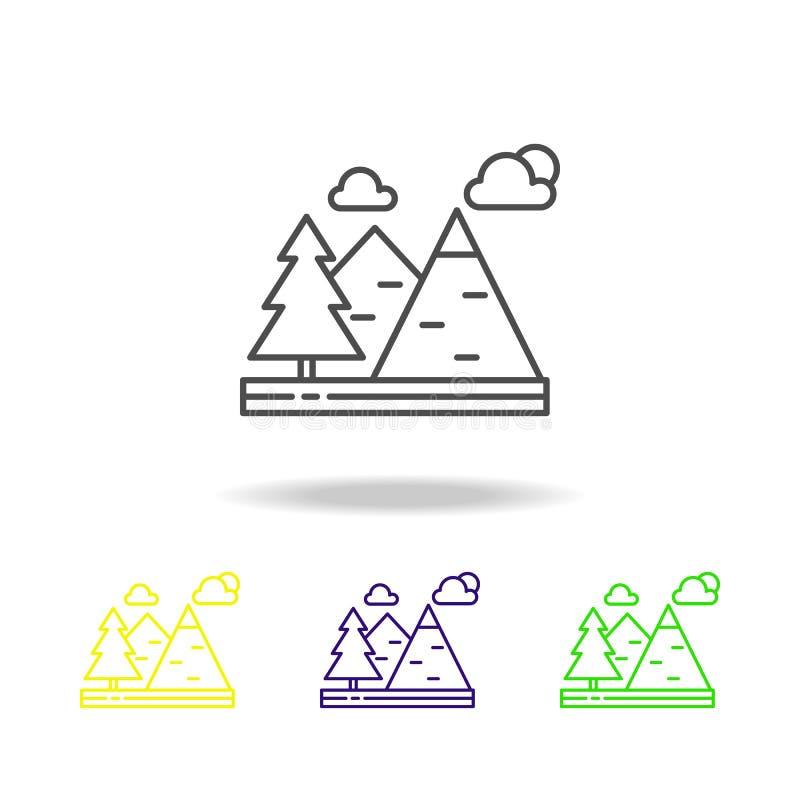 Βουνά, σύννεφα, χρωματισμένο δέντρα εικονίδιο Μπορέστε να χρησιμοποιηθείτε για τον Ιστό, λογότυπο, κινητό app, UI, UX απεικόνιση αποθεμάτων