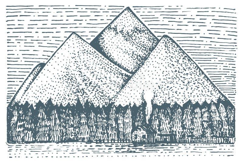Βουνά το σπίτι και το δάσος που χαράσσονται με, συρμένη χέρι διανυσματική απεικόνιση στο ύφος ξυλογραφιών scratchboard, εκλεκτής  διανυσματική απεικόνιση