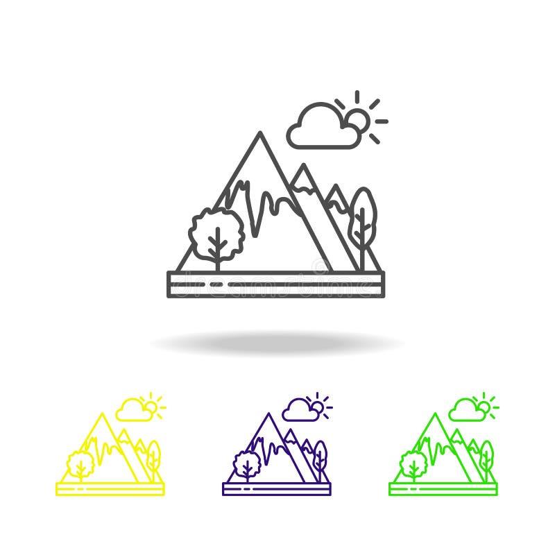 Βουνά, χρωματισμένο σύννεφο εικονίδιο Μπορέστε να χρησιμοποιηθείτε για τον Ιστό, λογότυπο, κινητό app, UI, UX διανυσματική απεικόνιση