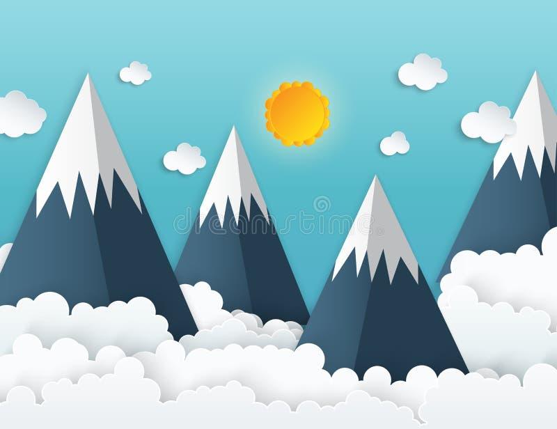 Βουνά origami τέχνης εγγράφου με το χιόνι, άσπρα χνουδωτά σύννεφα απεικόνιση αποθεμάτων