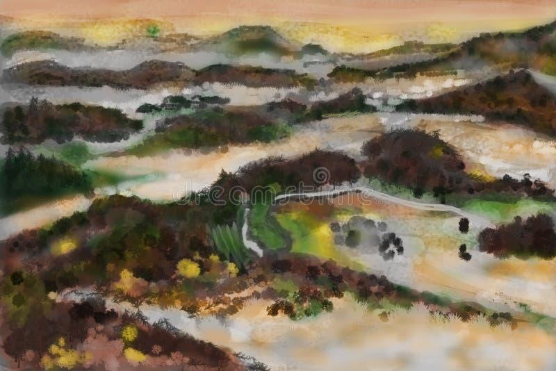 Βουνό ζωγραφικής CG διανυσματική απεικόνιση