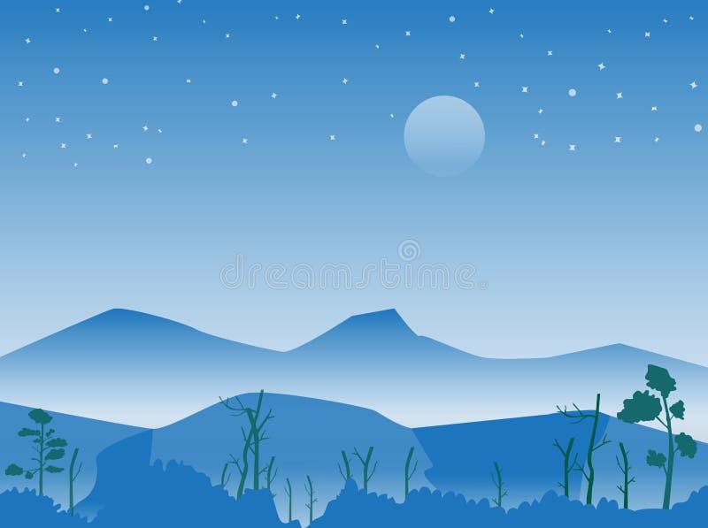 Βουνό και δασική τη νύχτα σκηνή με την έναστρη, διανυσματική εικόνα διανυσματική απεικόνιση