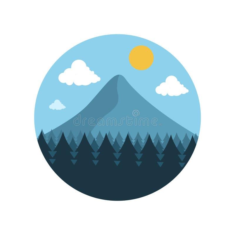 Βουνό και δασικό εικονίδιο ελεύθερη απεικόνιση δικαιώματος
