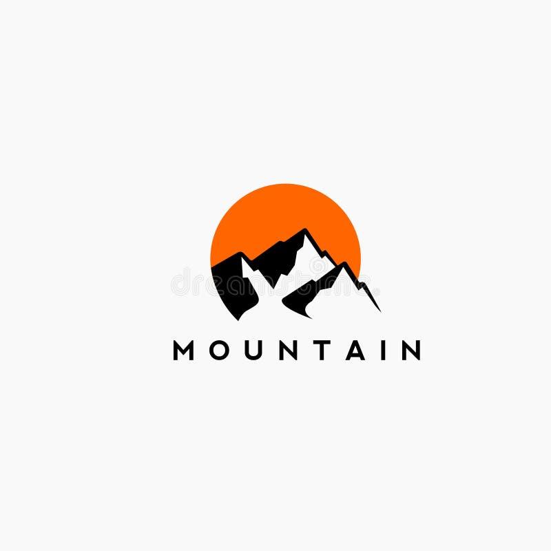 Βουνό και λογότυπο ηλιοβασιλέματος μαύρος και πορτοκαλής ελεύθερη απεικόνιση δικαιώματος