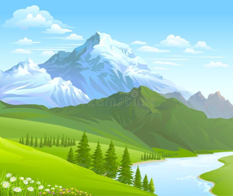 Βουνό και ποταμός χιονιού που ρέουν σε μια κοιλάδα απεικόνιση αποθεμάτων