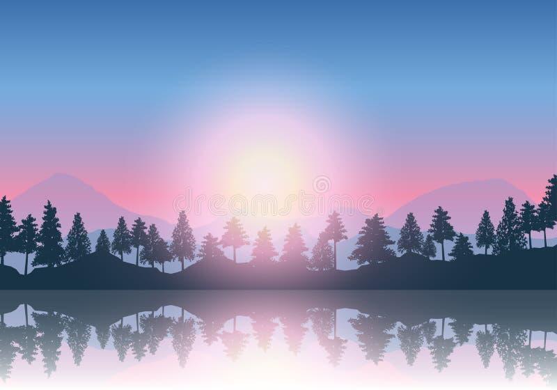 Βουνό και τοπίο δέντρων διανυσματική απεικόνιση