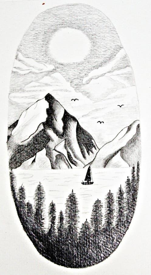 Βουνό με τη βάρκα και τη λίμνη διανυσματική απεικόνιση