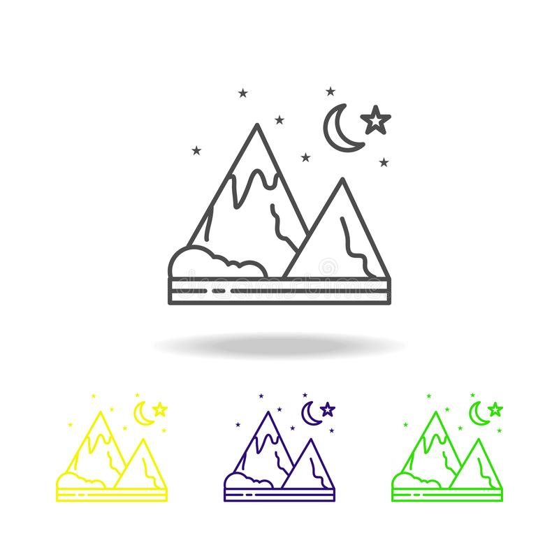 Βουνό, νύχτα, ενάρξεις, χρωματισμένο φύση εικονίδιο Μπορέστε να χρησιμοποιηθείτε για τον Ιστό, λογότυπο, κινητό app, UI, UX ελεύθερη απεικόνιση δικαιώματος