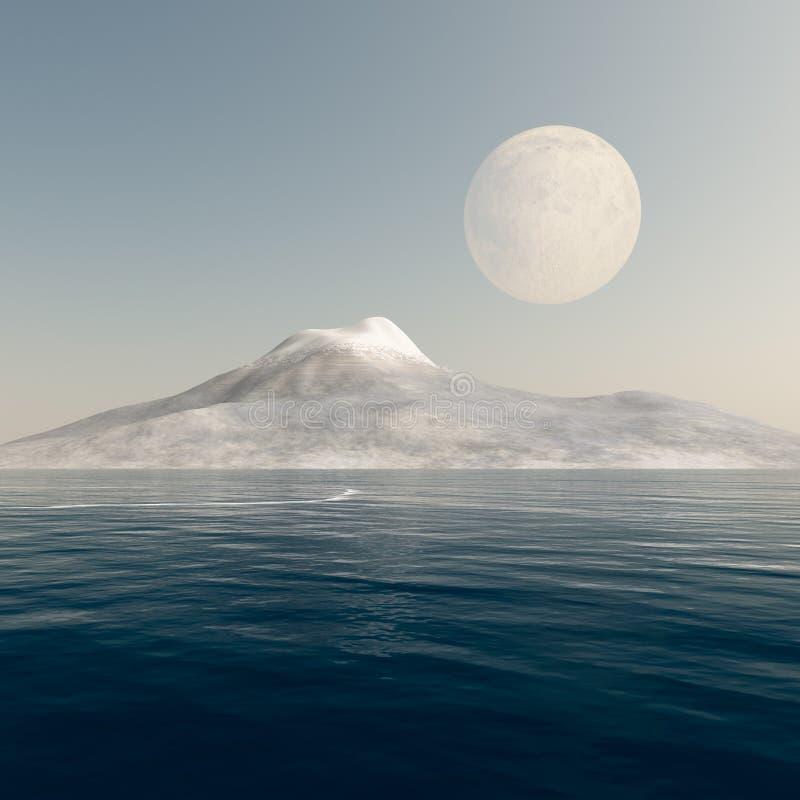βουνό πανσελήνων πέρα από τη &t διανυσματική απεικόνιση