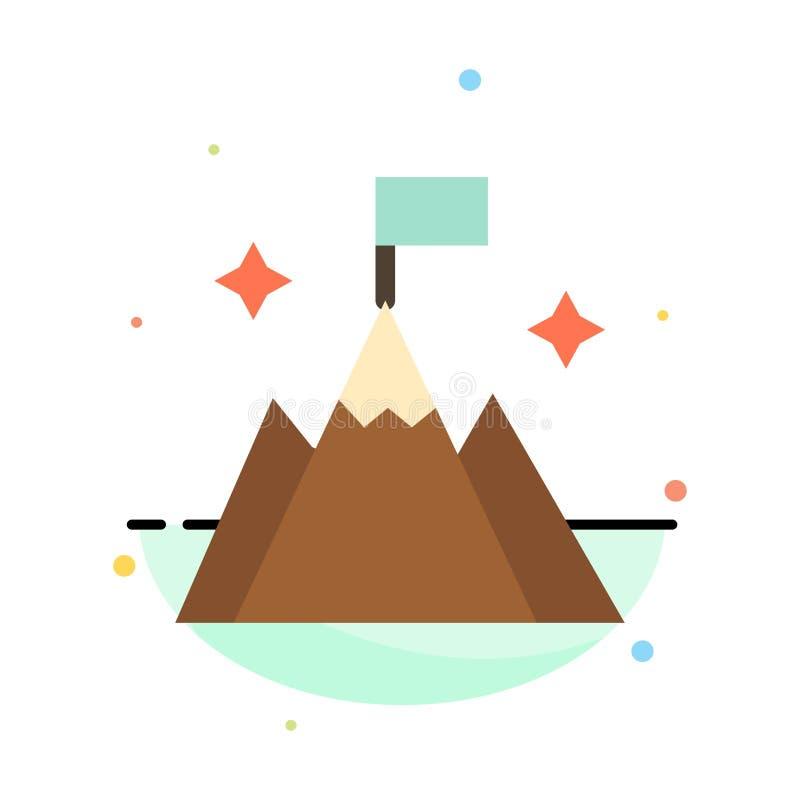 Βουνό, σημαία, χρήστης, αφηρημένο επίπεδο πρότυπο εικονιδίων χρώματος διεπαφών απεικόνιση αποθεμάτων