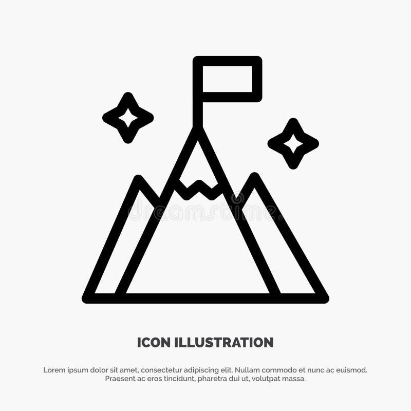 Βουνό, σημαία, χρήστης, διάνυσμα εικονιδίων γραμμών διεπαφών ελεύθερη απεικόνιση δικαιώματος