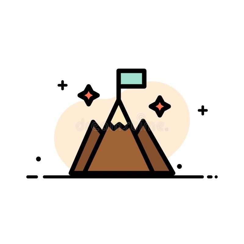 Βουνό, σημαία, χρήστης, διεπαφών πρότυπο εμβλημάτων επιχειρησιακών επίπεδο γεμισμένο γραμμή εικονιδίων διανυσματικό απεικόνιση αποθεμάτων