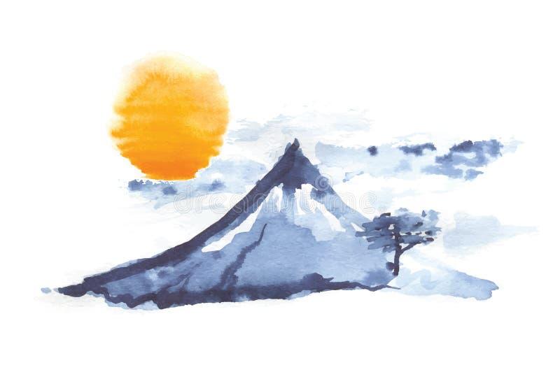 Βουνό Φούτζι και ήλιος, ιαπωνική τέχνη, διάνυσμα στοκ εικόνα με δικαίωμα ελεύθερης χρήσης