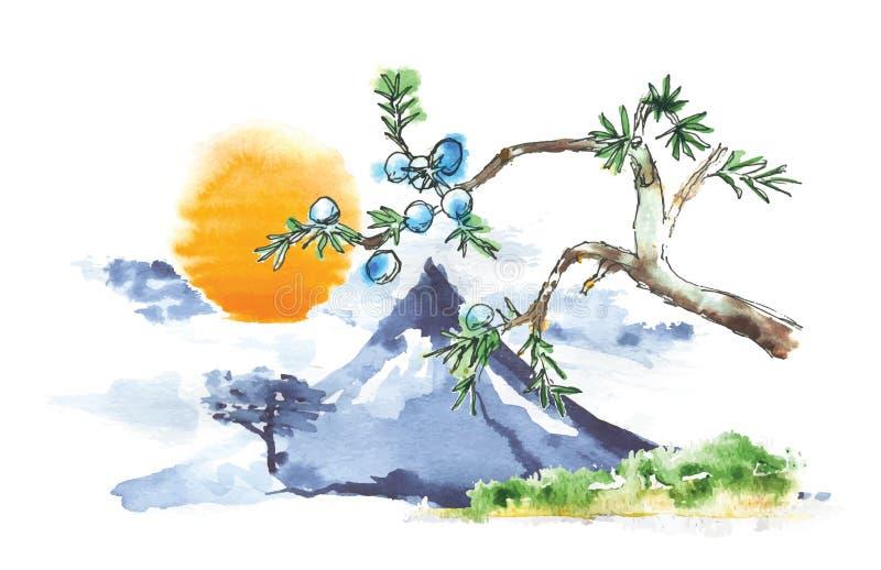 Βουνό Φούτζι και ήλιος, ιαπωνική τέχνη, διάνυσμα διανυσματική απεικόνιση