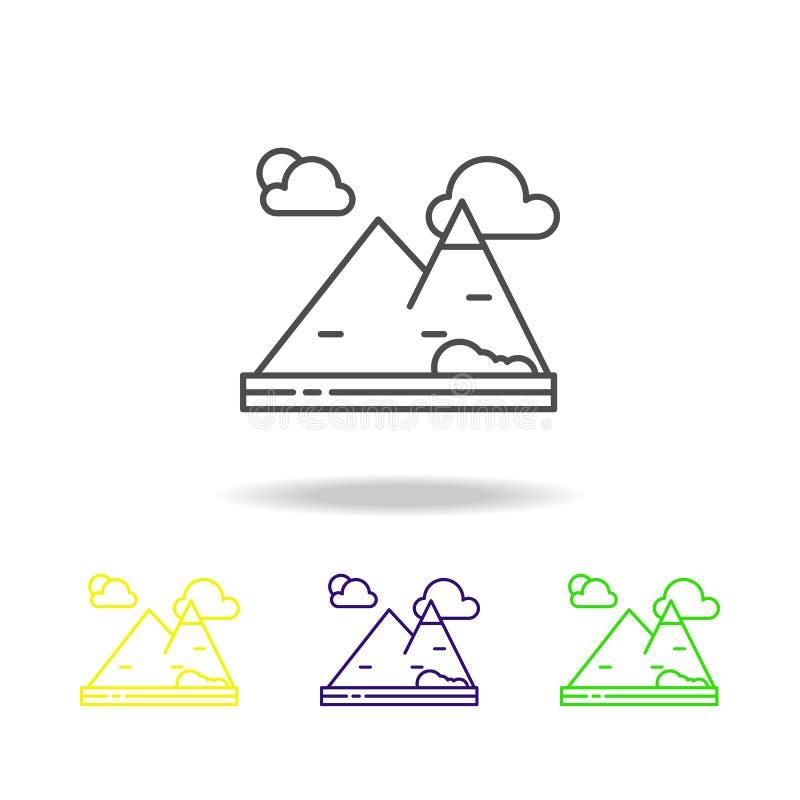Βουνό, φύση, χρωματισμένο τοπίο εικονίδιο Μπορέστε να χρησιμοποιηθείτε για τον Ιστό, λογότυπο, κινητό app, UI, UX ελεύθερη απεικόνιση δικαιώματος