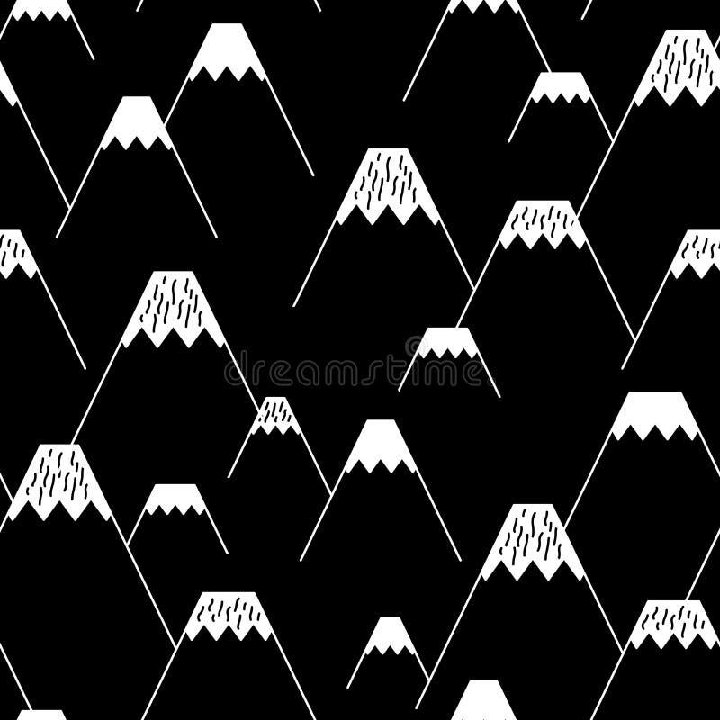 Βουνών διανυσματικό άνευ ραφής υπόβαθρο ταπετσαριών σχεδίων μαύρο ελεύθερη απεικόνιση δικαιώματος