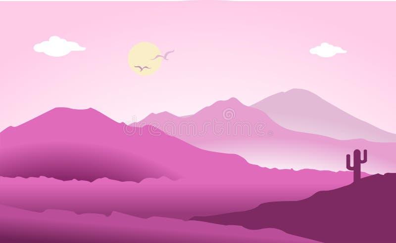 Βουνών διανυσματικό illuatration σχεδίου τοπίων επίπεδο ελεύθερη απεικόνιση δικαιώματος