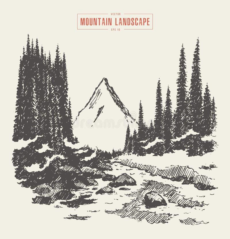 Βουνών συρμένο χέρι διάνυσμα ποταμών έλατου δασικό ελεύθερη απεικόνιση δικαιώματος