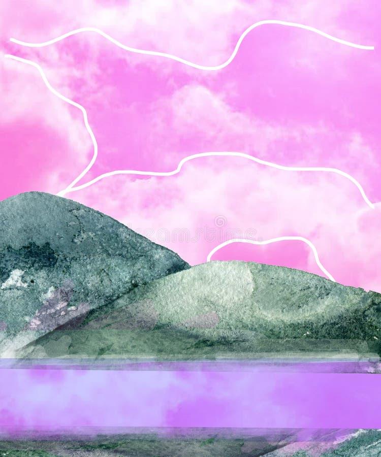 Βουνών watercolor παφλασμών σύστασης το πράσινο σχεδίων απεικόνισης γεωμετρικό συνδετήρων τέχνης ροζ τέχνης συνδετήρων απεικόνιση απεικόνιση αποθεμάτων