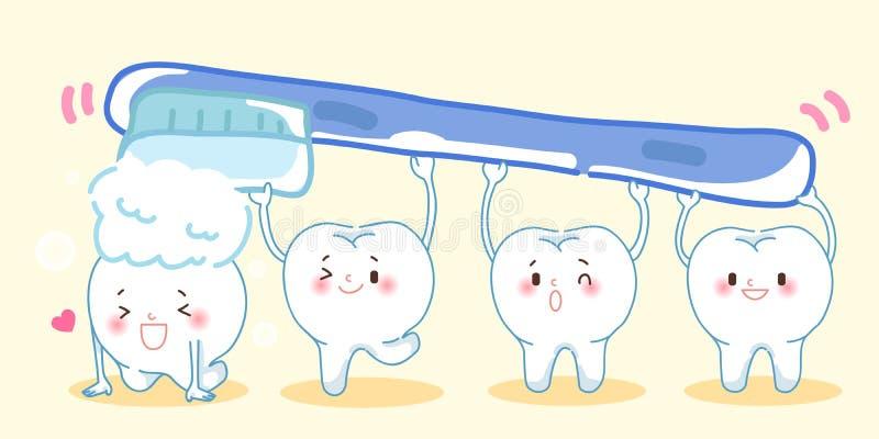 Βουρτσίζοντας χαριτωμένα δόντια κινούμενων σχεδίων ελεύθερη απεικόνιση δικαιώματος