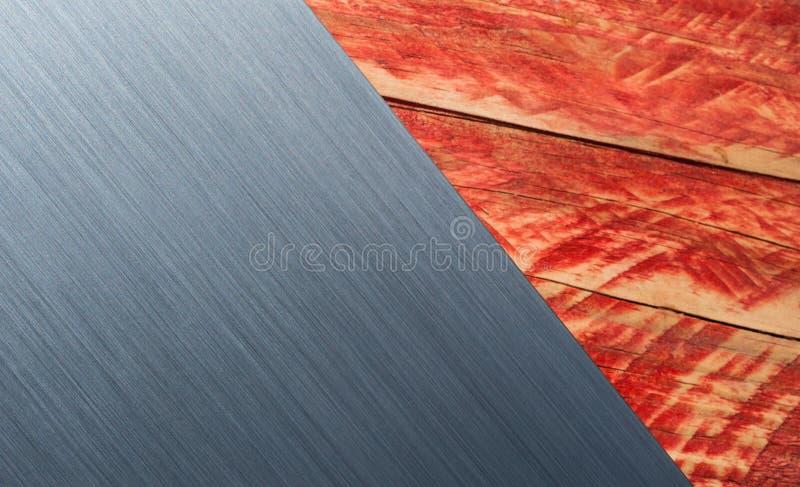 Βουρτσισμένο μέταλλο και ξύλινο υπόβαθρο στοκ εικόνες