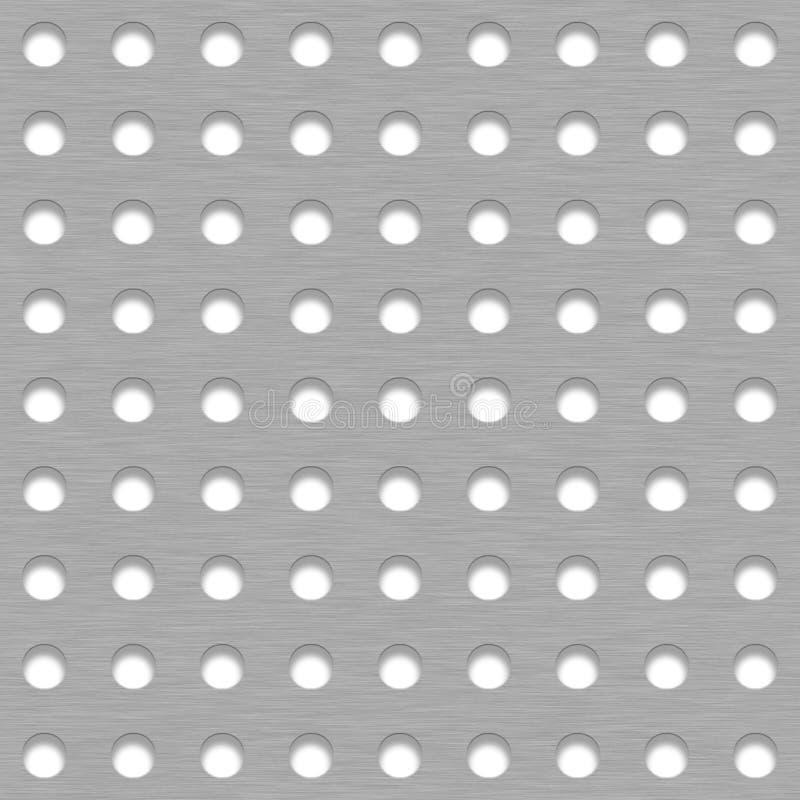 Βουρτσισμένο υπόβαθρο κεραμιδιών μετάλλων με τις άσπρες τρύπες σχαρών στοκ φωτογραφίες