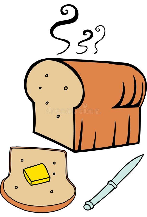 βουτυρωμένος καυτός ψωμ απεικόνιση αποθεμάτων