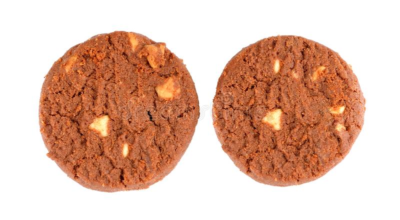 Βουτύρου μπισκότο σοκολάτας που απομονώνεται στο άσπρο υπόβαθρο στοκ φωτογραφία