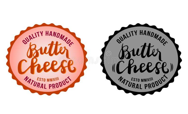 Βουτύρου σύμβολα τυριών, τρόφιμα, ποιοτικό χειροποίητο, φυσικό προϊόν, διανυσματικές εικόνες συλλογής για το λογότυπό σας, ετικέτ απεικόνιση αποθεμάτων