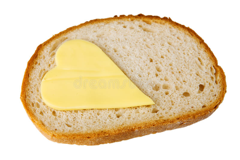 βουτύρου φέτα καρδιών ψωμ&io στοκ εικόνες