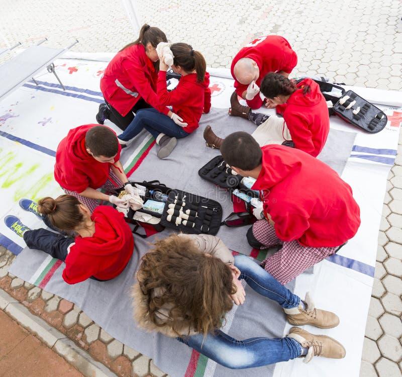 Βουλγαρική Ερυθρή εθελοντική οργάνωση νεολαίας Σταυρών (BRCY) στοκ φωτογραφία