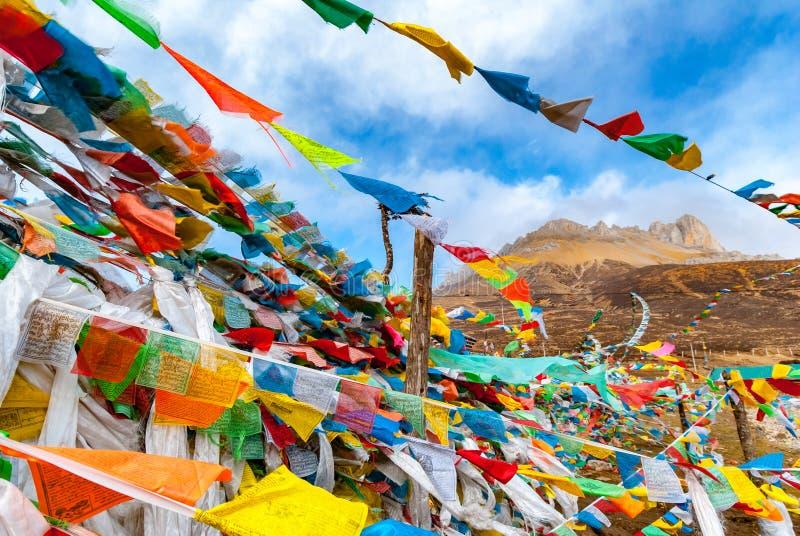 Βουδιστικές θιβετιανές σημαίες προσευχής που κυματίζουν στον αέρα ενάντια στο μπλε SK στοκ φωτογραφία