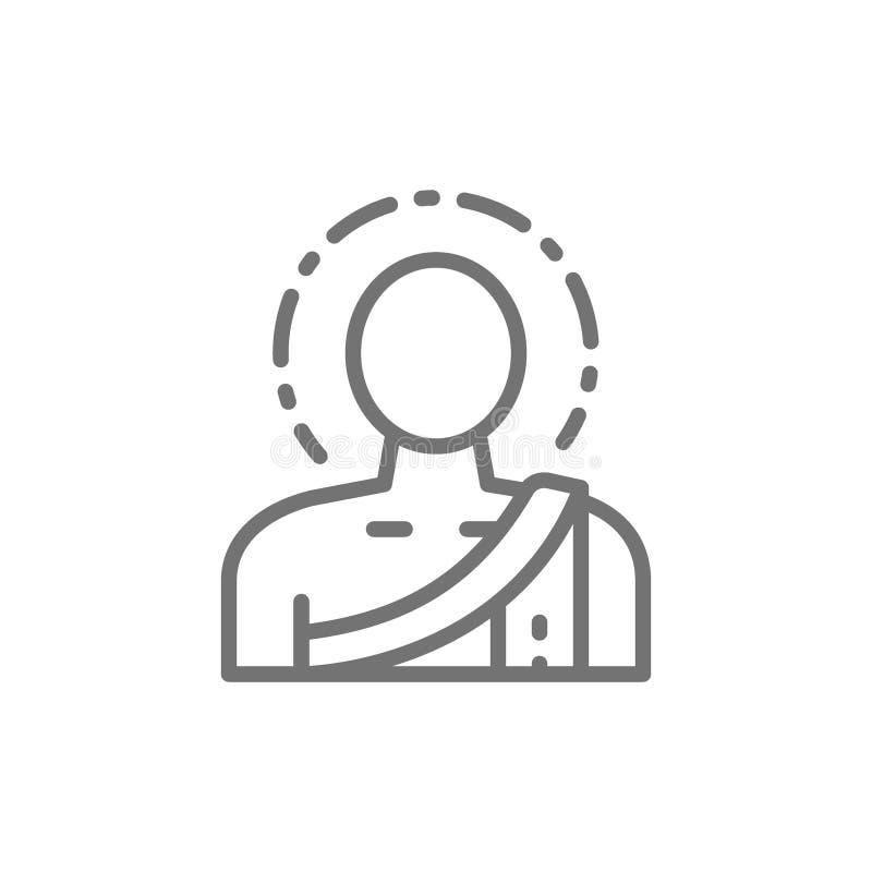 Βούδας, βουδιστικό εικονίδιο γραμμών μοναχών διανυσματική απεικόνιση